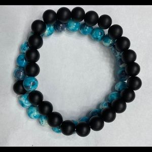 Blue and black beads bracelet